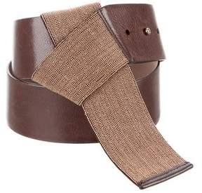 Brunello Cucinelli Monili-Trimmed Leather Belt