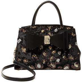Betsey Johnson Leopard Sequin Bow Satchel