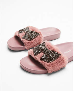 Express embellished faux fur slides