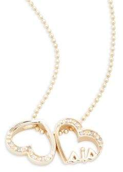 Alex Woo Little Words Diamond & 14K Yellow Gold Sis Hearts Necklace