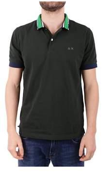Sun 68 Men's Green Cotton Polo Shirt.