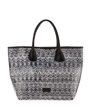 Neiman Marcus Squiggle-Stripe Clear Tote Bag, Black