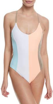 Pilyq Farrah Scoop-Neck Colorblocked One-Piece Swimsuit