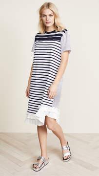 Clu Stripe T-Shirt Dress with Pleating