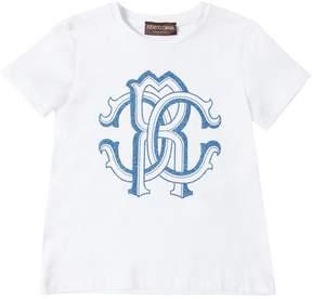 Roberto Cavalli Glittered Logo Cotton Jersey T-Shirt