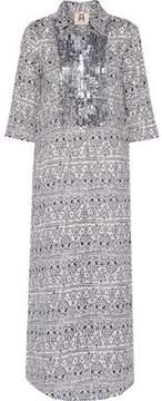 Figue Long Tux Sequin-Embellished Printed Cotton-Broadcloth Kaftan