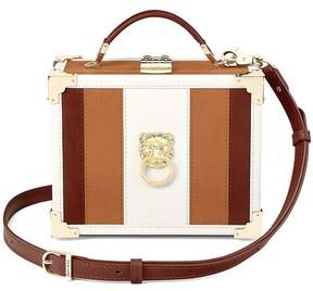Aspinal of London Lion Mini Trunk Clutch In Smooth Tan, Ivory Redwood