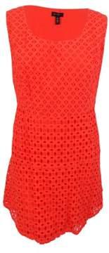Jessica Simpson Women's Sleeveless Eyelet Dress (3X, Hot Coral)