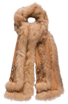 Adrienne Landau Rabbit Fur-Trimmed Cashmere Scarf
