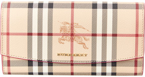 Burberry Haymarket Check & Leather Continental Wallet - PINK - STYLE