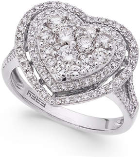 Effy Pave Classica Diamond Heart Ring (1-1/8 ct. t.w.) in 14k White Gold
