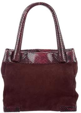 Max Mara Snakeskin-Trimmed Suede Tote