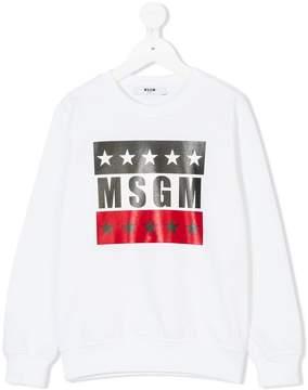 MSGM star print logo sweatshirt