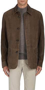 Luciano Barbera Men's Plaid Suede Coat