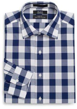 Saks Fifth Avenue BLACK Slim-Fit Buffalo Check Two-Ply Cotton Dress Shirt