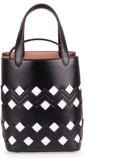 Alaia Monochrome black leather tote
