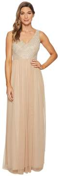 Adrianna Papell V-Neck Pearl and Bead Bodice with Long Mesh Ball Skirt Women's Dress