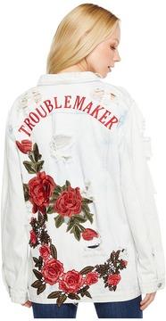 Brigitte Bailey Zoe Rose Patch Distressed Denim Jacket Women's Coat
