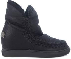 Mou Wedge Eskimo Black Leather Ankle Boots