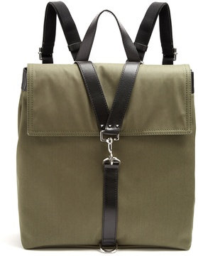 VALENTINO Leather-trimmed canvas backpack