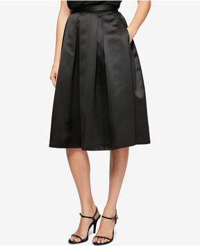 Alex Evenings Pleated Satin A-Line Skirt