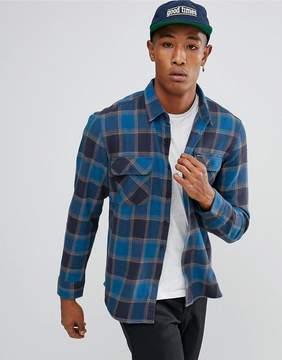 Brixton Bowery Flannel Check Shirt in Blue