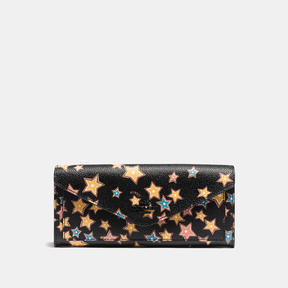 COACH Coach Soft Wallet With Starlight Print - MATTE BLACK/BLACK MULTI - STYLE