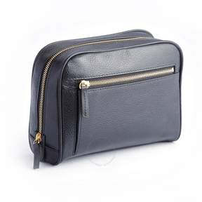 Royce Leather Royce Black Toiletry Bag in Pebbled Leather