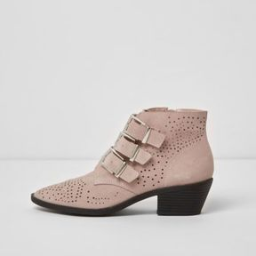 River Island Womens Pink triple buckle suede western boots