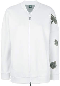 Eleventy embellished ziped sweatshirt