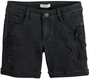 Mudd Girls 7-16 & Plus Size Floral Applique Distressed Denim Shorts