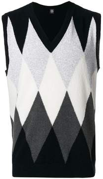 Eleventy argyle V-neck jumper