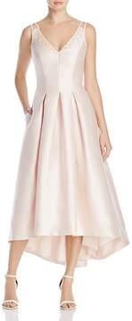 Carmen Marc Valvo Beaded V-Neck Midi Dress