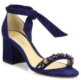 Alexandre Birman Clarita Jeweled Suede Block Heel Sandals