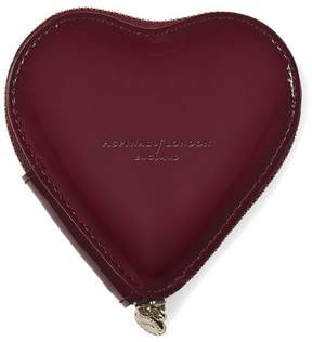 Aspinal of London | Heart Coin Purse In Deep Shine Cherry Patent | Deep shine cherry red patent