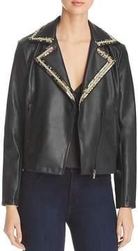Bagatelle Faux Leather Embellished Lapel Moto Jacket