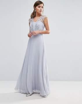 Coast Lori Arlie Pleated Maxi Dress in Light Gray