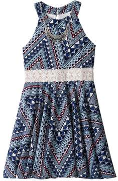Knitworks Girls 7-16 Printed Lace Trim Halter Skater Dress with Necklace
