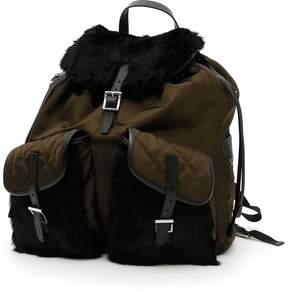 Prada Nylon And Rabbit Fur Backpack