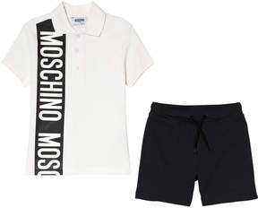 Moschino White Branded Stripe Polo and Jersey Shorts Set