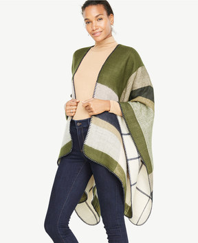 Ann Taylor Reversible Plaid Cape
