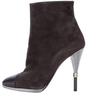 Chanel CC Suede Cap-Toe Booties