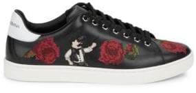 Dolce & Gabbana Embroidered Leather Low Top Sneakers