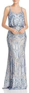 Aqua Sequin Lace Blouson Gown - 100% Exclusive