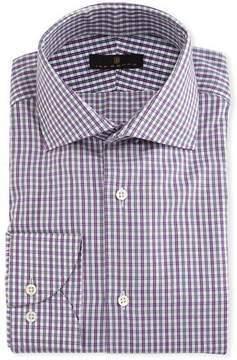Ike Behar Gold Label Tattersall Cotton-Cashmere Dress Shirt