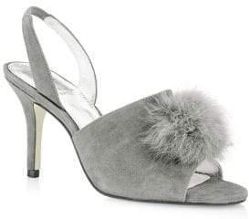 Adrianna Papell Alecia Suede Rabbit Fur Sandals