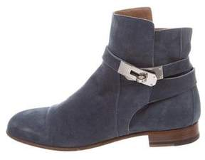 Hermes Neo Suede Round-Toe Ankle Boots