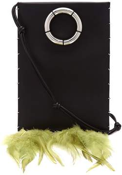 The Row Medicine feather-trimmed leather cross-body bag
