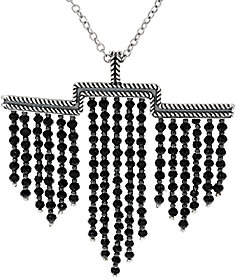 American West 48.0 Cttw. Black Spinel SterlingSilver Necklace