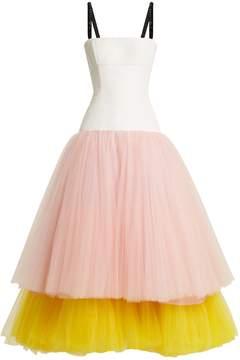 Carolina Herrera Contrasting-tiered silk-faille dress